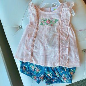 Emma's Garden Short/Top Outfit | 3-6 mo | NWT